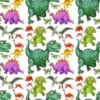 Olika typer av dinosaur sömlösa mönster vektor