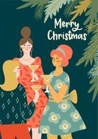 Jul och gott nytt år illustration unga kvinnor dricker champagne.
