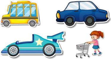 zufällige Aufkleber mit transportablen Fahrzeugobjekten vektor