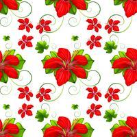 Sömlös bakgrund med röda blommor vektor