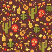 Vektornahtloses Muster mit traditionellen mexikanischen Symbolen.