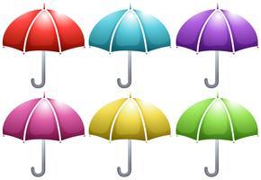 Paraply i sex färger