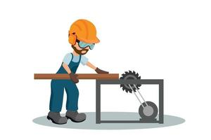 männlicher Tischler, der ein Holzbrett mit Arbeitsschutzausrüstung schneidet vektor