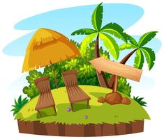 Zwei Sitze und Sonnenschirm auf der Insel