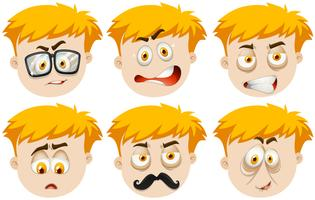 Pojke med många ansiktsuttryck vektor