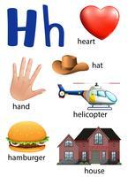 Dinge, die mit dem Buchstaben H beginnen vektor