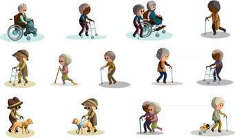 Hilfe für ältere und behinderte Menschen vektor
