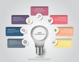 Glühbirne Infografiken 7-Stufen-Element. grafisches Diagrammdiagramm vektor