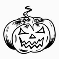 Halloween-Kürbis. großer Kürbis mit geschnittenen Augen und einem Grinsen im Mund vektor