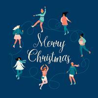 Vektor illustration av kvinnor skridskor. Jul och nyår humör.