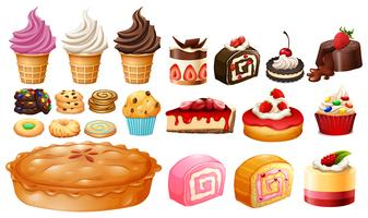 Set verschiedene Arten von Desserts vektor
