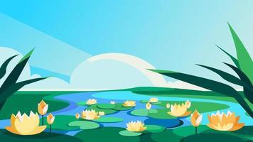 blühende Lotusblumen auf dem Fluss. vektor