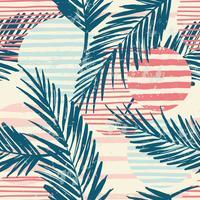 Trendigt sömlöst exotiskt mönster med palm och geometriska element.