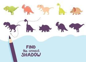 finde die richtigen schatten süßen dinosaurier vektor