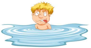 Ein Mann braucht Hilfe im Wasser vektor