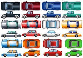 Set av bilar och lastbilar i många färger vektor