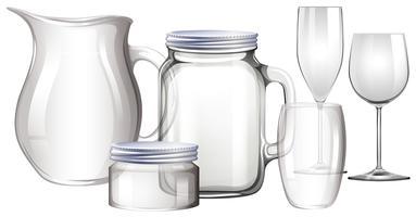 Verschiedene Arten von Glasbehältern vektor