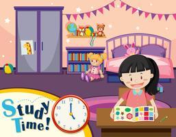 Junge Mädchen lernen Zeit