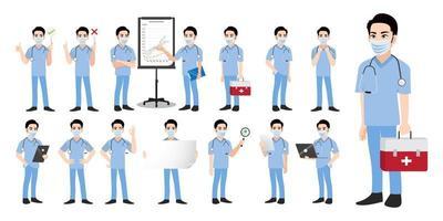 Cartoon-Figur mit einem professionellen Arzt flacher Icon-Design-Vektor vektor