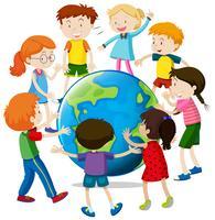 Lyckliga barn runt om i världen