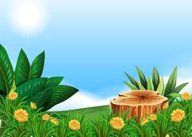 Szene mit Stumpfbaum auf dem Blumengebiet vektor