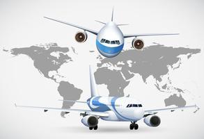 Två vinklar av flygplan på världskartan