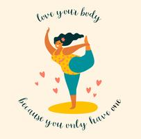 Körper positiv Glücklich plus Größenmädchen und aktiver Lebensstil. vektor
