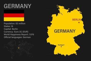 hochdetaillierte Deutschlandkarte mit Flagge, Hauptstadt und kleiner Weltkarte vektor