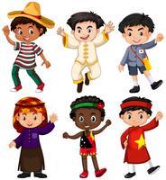 Pojkar från olika länder vektor