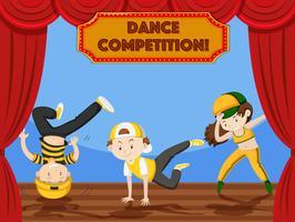 Barn dansar tävling på scenen