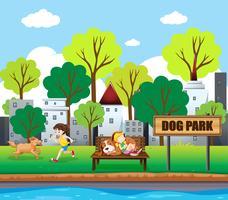 Menschen und Haustiere im Hundepark vektor