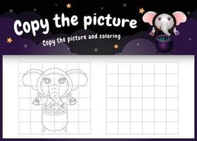 kopiere das bild kinderspiel und die ausmalseite mit einem süßen elefanten vektor