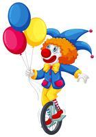 Ein Clown, der ein Einrad fährt vektor