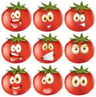 Frisk tomat med ansiktsuttryck vektor