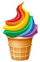 Regnbågs glass i kon