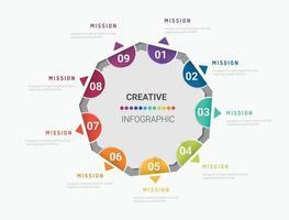 Kreis-Infografik-Dünnlinien-Design und 8 Optionen oder Schritte vektor