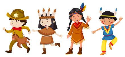 Set von Kindern im Kostüm