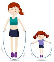 Mutter und Tochter springen Seil vektor