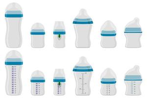 großes buntes Set Babymilch in der Flasche mit Gummischnuller vektor