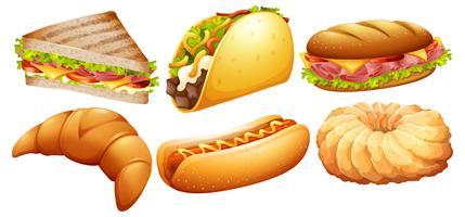 Verschiedene Arten von Fastfood vektor