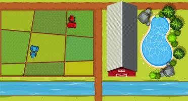 Vogelperspektive des Bauernhofes mit Traktoren und Ernten