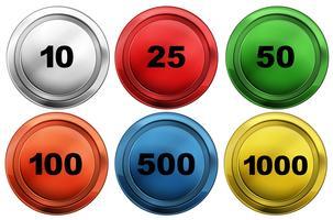 Färgglada tokens med olika nummer