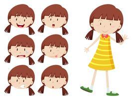 Mädchen mit vielen Gesichtsausdrücken vektor