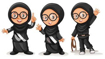 Muslimsk tjej i svarta kostymer