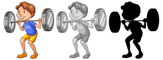 Mann, der Gewichtcharakter anhebt