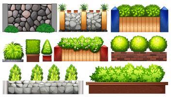 Olika konstruktion av vägg och staket