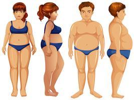 Übergewichtige männliche und weibliche Figuren vektor