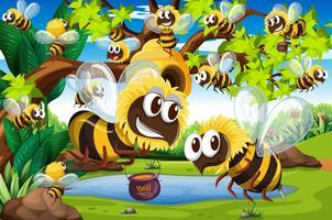 Många bin som flyger runt bikupa i trädgården
