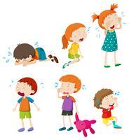 En uppsättning gråtande barn