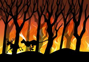 Waldbrand Hintergrund Wald Silhouette vektor